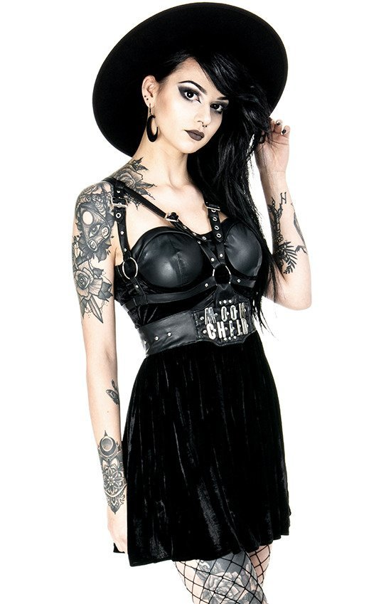 MOON CHILD harness dress Velvet and vegan leather