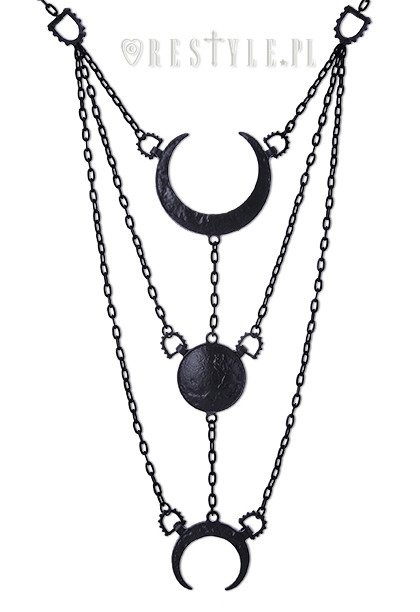 "Long Crescent pendant, luna ""MOON PHASES BLACK NECKLACE"""