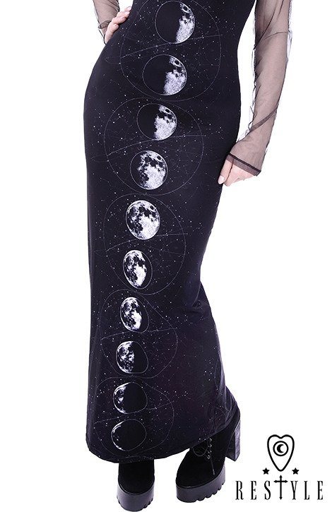 "Long, hooded dress, black, witchy ""MOON PHASES"""