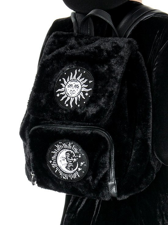MOON & SUN BACKPACK Black Gothic Fur Bag with patches
