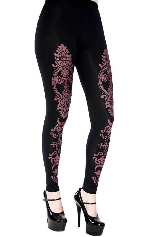Monogram Leggings with purple print