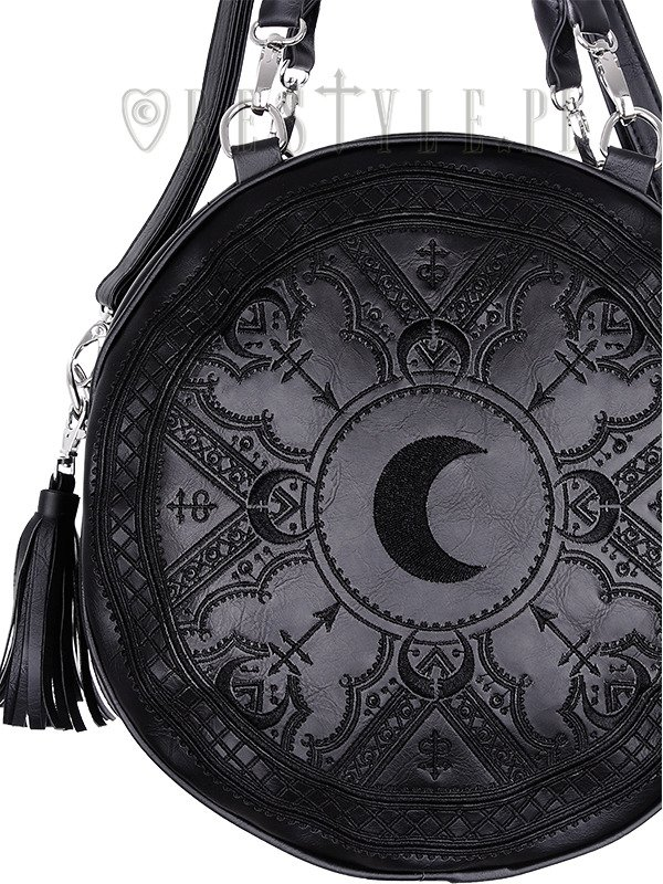 "Moon embroidery handbag, witchy purse with moon & tessels ""HENNA BLACK ROUND BAG"""