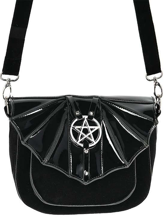 NIGHT CREATURE BAG Small gothic bat handbag with pentagram