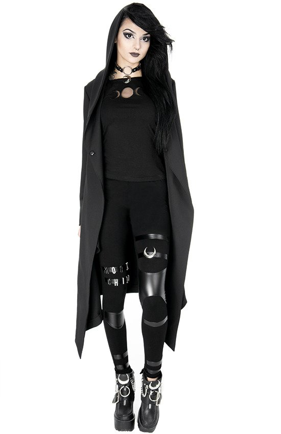 NOX COAT Long jacket with oversized hood, gothic cape