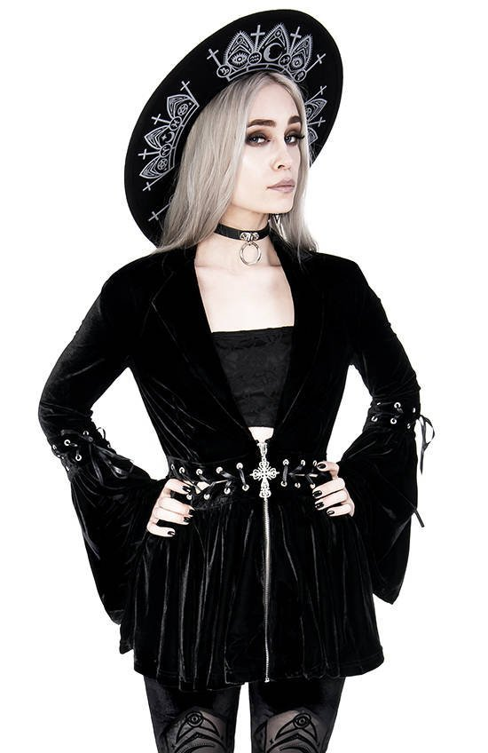 New Romantic Lace Up Coat, Velvet Blazer with a gothic cross