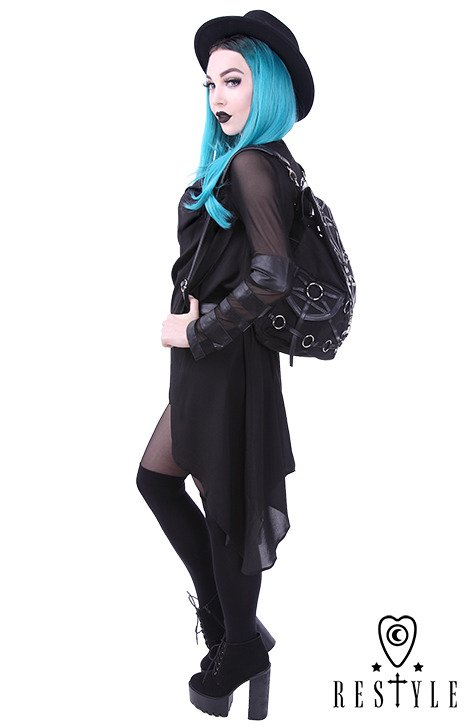"""O-RING BACKPACK"" with pockets, Black, harness, occult, black fashion"