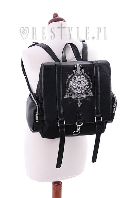 """OCCULT BACKPACK"" Black, Cat skull, Moon, Gothic, square backpack"