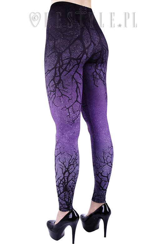 "Ombre Leggings tree, gradient trousers ""PURPLE BRANCHES"""