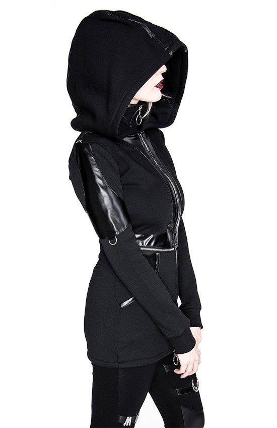 PANELED HOODIE, black gothic hoodie with faux leather applications