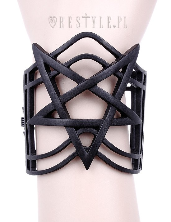 "Modern bangle, Pentagram jewellery, gothic cuff ""PENTAGRAM BLACK BRACELET"""
