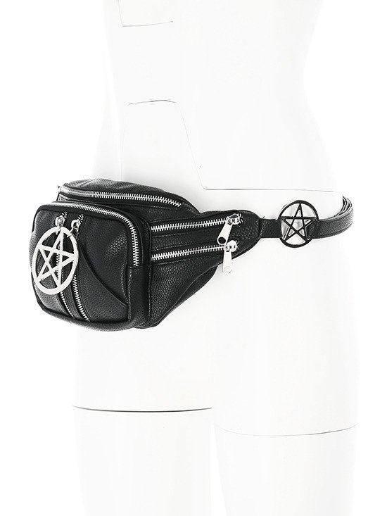PENTAGRAM HIP BAG Black gothic belt with pockets, pocket belt