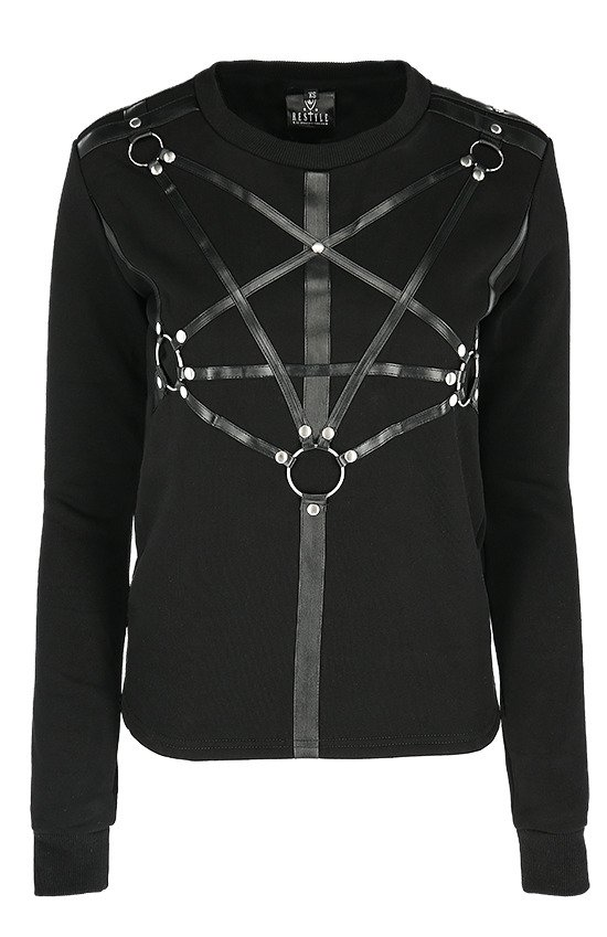PENTAGRAM JUMPER Black women's hoodie with harness