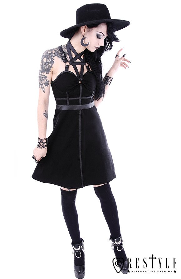"Black, short gothic dress, leather straps, o-rings, witchy""PENTAGRAM PARTY DRESS"""