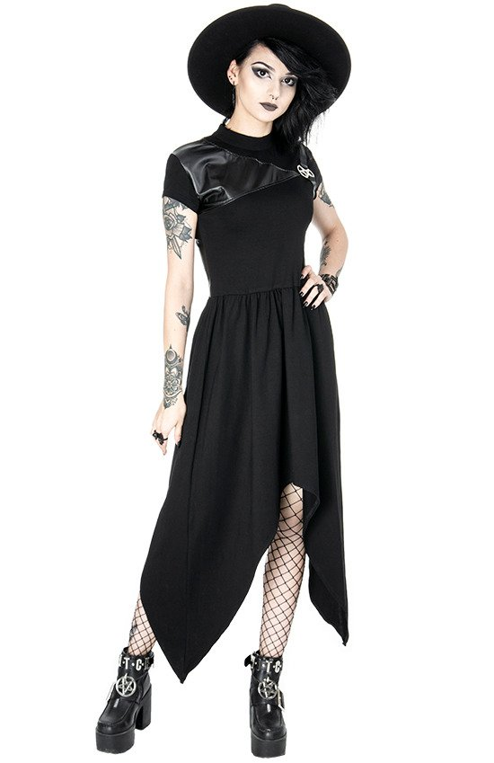 PENTAGRAM TUNIC Black gothic asymmetric dress, leather straps