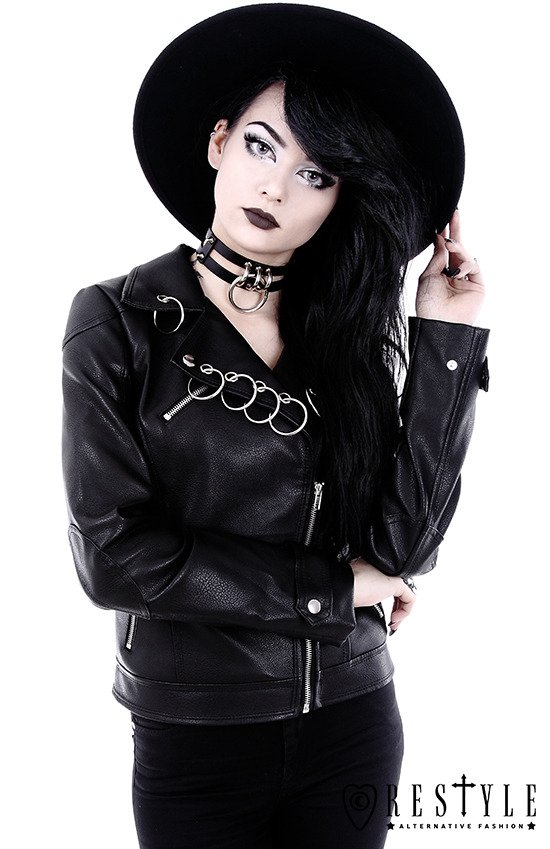 "Black leather jacket with rings ""PIERCED BIKER JACKET"""