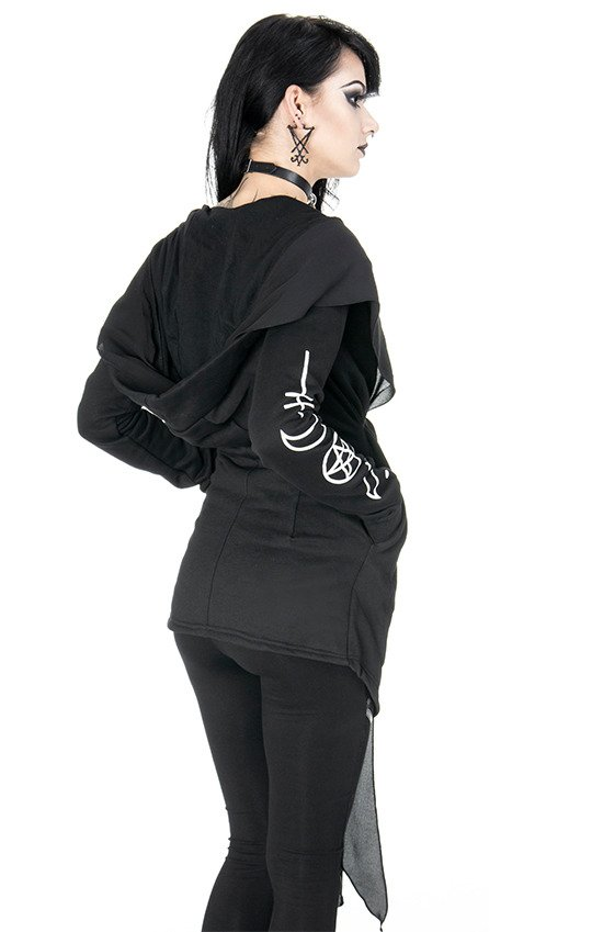 PROPHET HOODIE Long, Gothic jacket with oversized hood with veil
