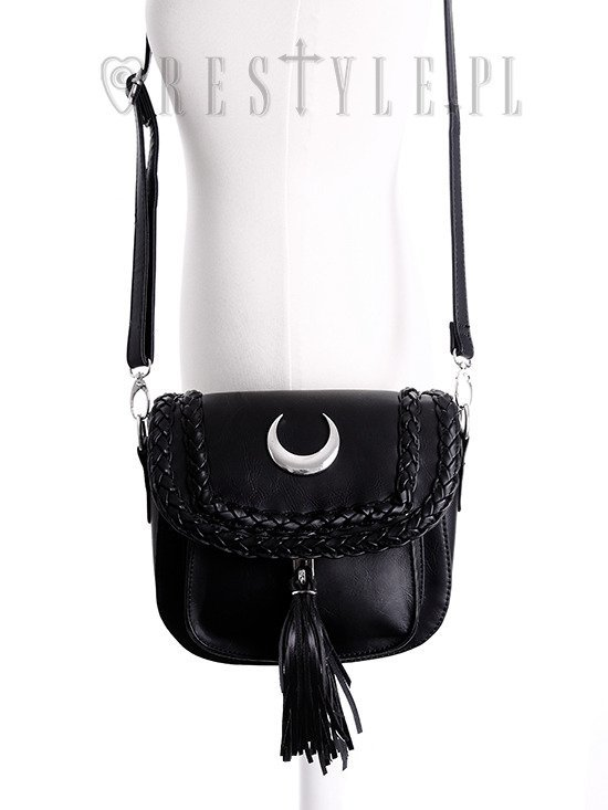 """PU MOON MINI BAG"" small gothic briefcase, 90s crescent handbag"