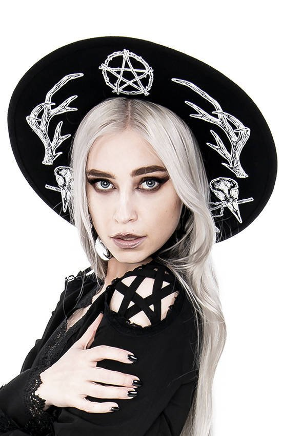 Pagan Hat with wide brim, wool, Antlers and pentacle