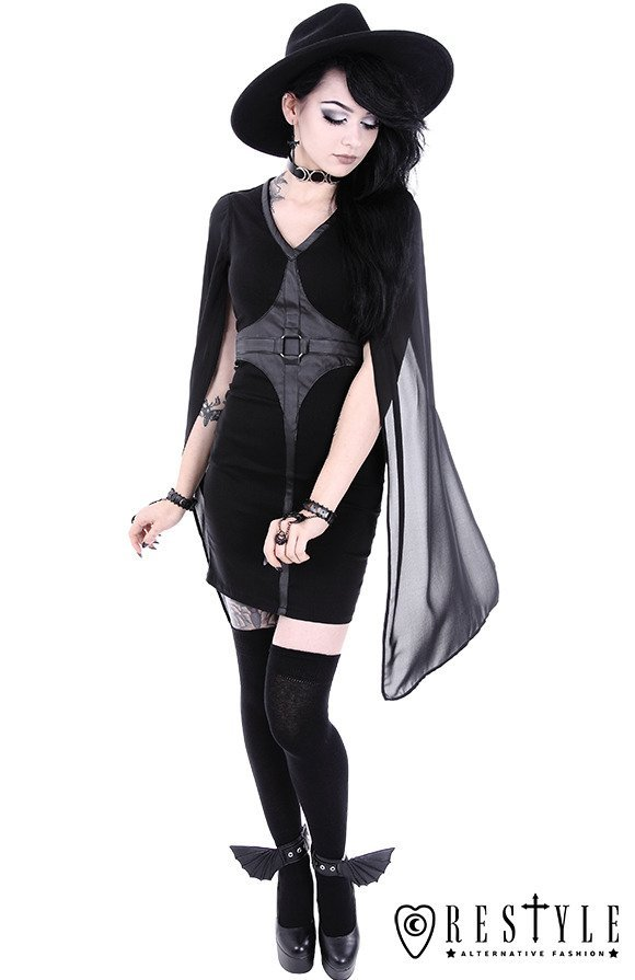 "Pencil gothic dress, leather straps, o-rings, long sleeves ""CAPE DRESS"""
