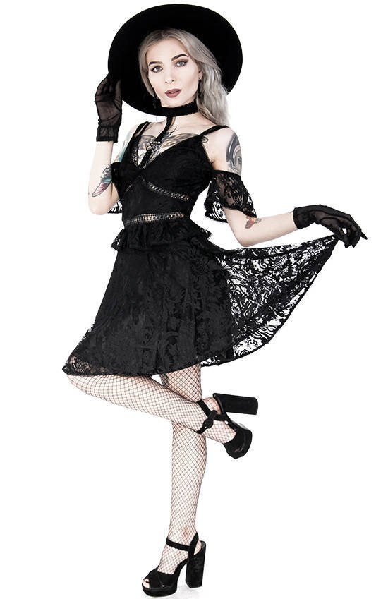 Pentagram Lace Dress with collar