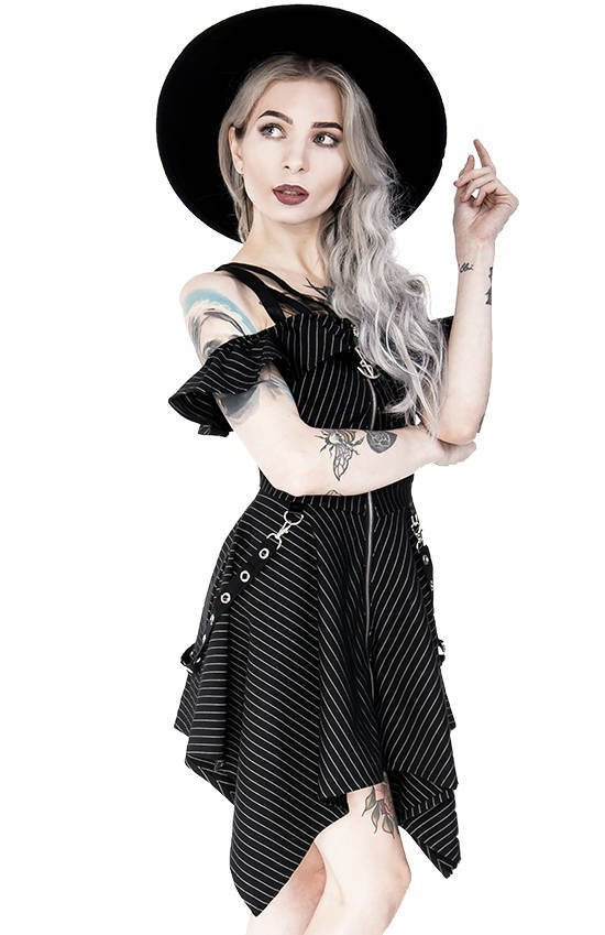 Pinstripe Floaty Gothic Dress with pentagram