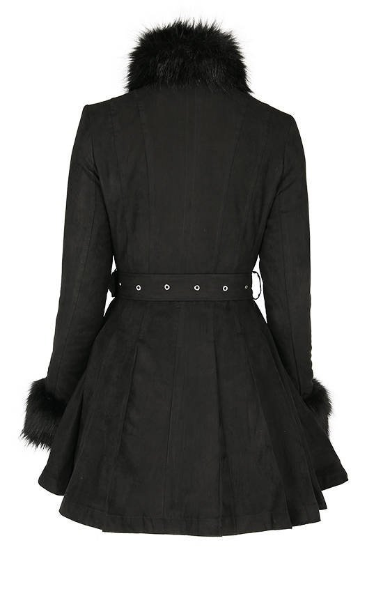 Pleated Coat with a Belt and Faux Fur Collar and Cuffs