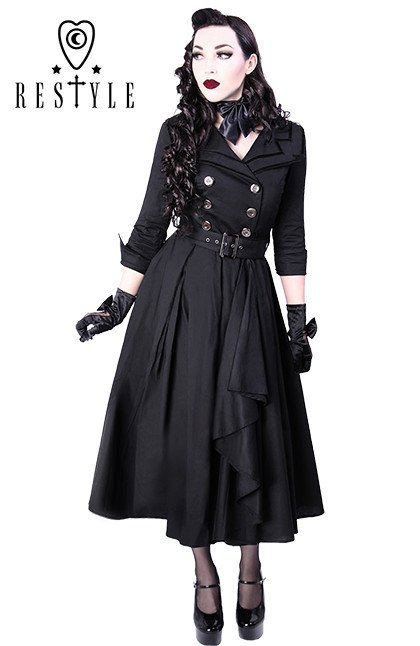 rimandare docile sottovento  R-22 COAT DRESS pin up 50' BLACK elegant, retro style - Restyle