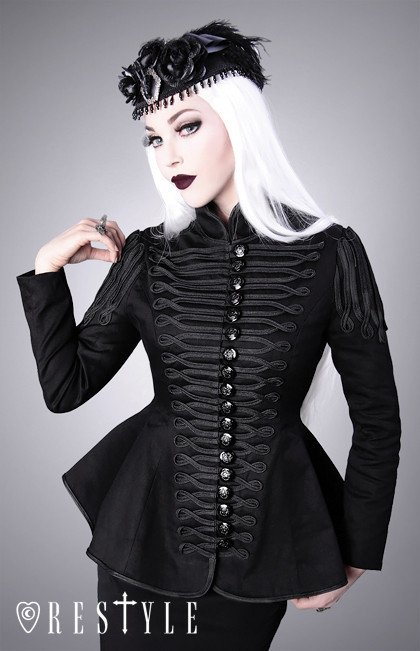 R-7 Black military jacket, gothic coat with cords, hourglass shape