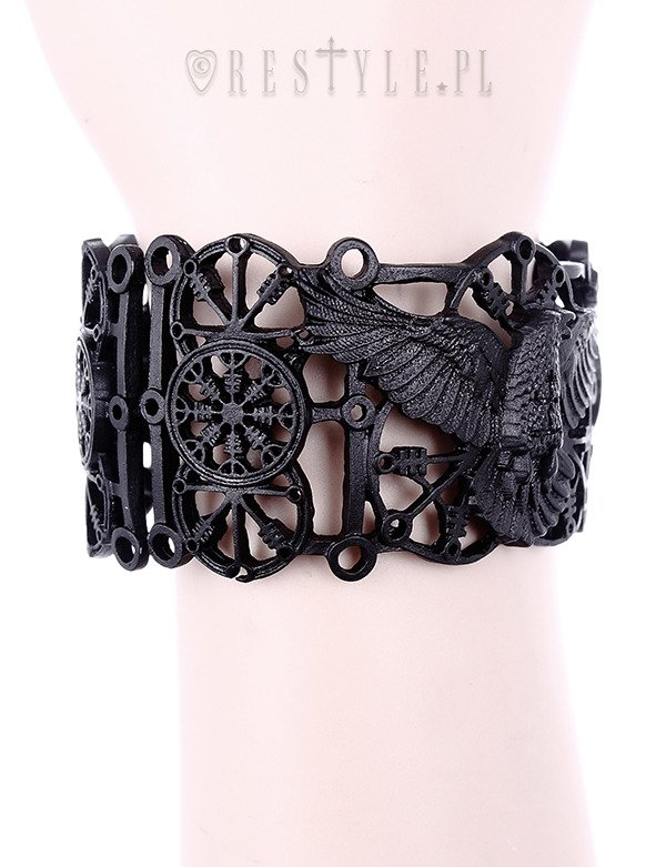 """RAVEN BRACELET"" Pagan bangle, black gothic crow cuff, runes"
