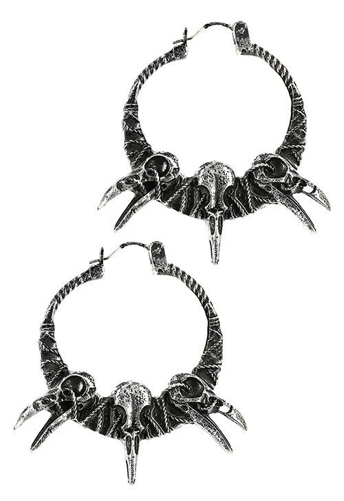 RAVEN SKULLS EARRINGS crow pagan hoops