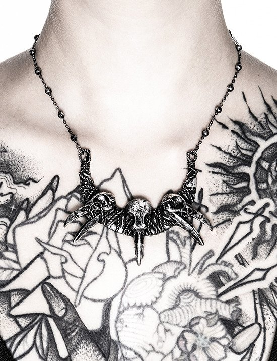 RAVEN SKULLS NECKLACE pagan pendant with crows