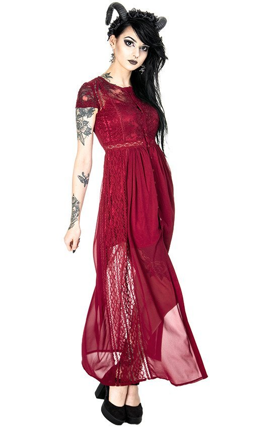 RED GRACE DRESS Long Lace gown. Romantic Dress