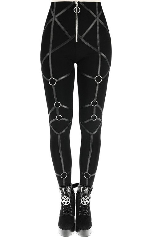 3fd5506a99a03 RINGS LEGGINGS Gothic trousers leather straps | CLOTHES \ Leggings ...