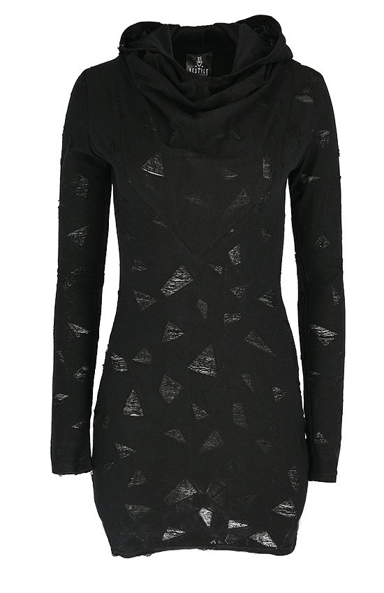 RIPPED HOODED DRESS Black gothic ripped dress with hood