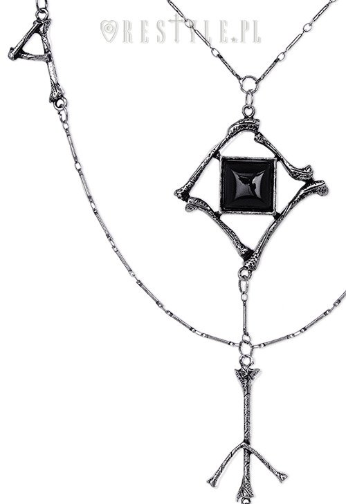 """RUNES & BONES necklace"" long chain, Black onyx, gothic pendant"