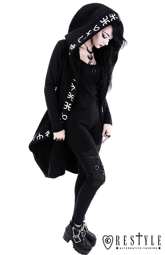 """RUNES HOODIE"" Long, Runic jacket with oversized hood"