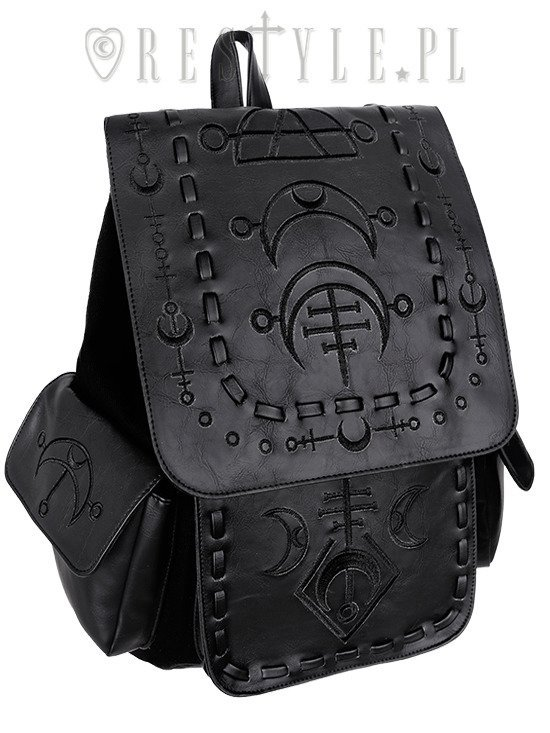 "School bag, with pockets ""RUNIC MOON BLACK  BACKPACK"""
