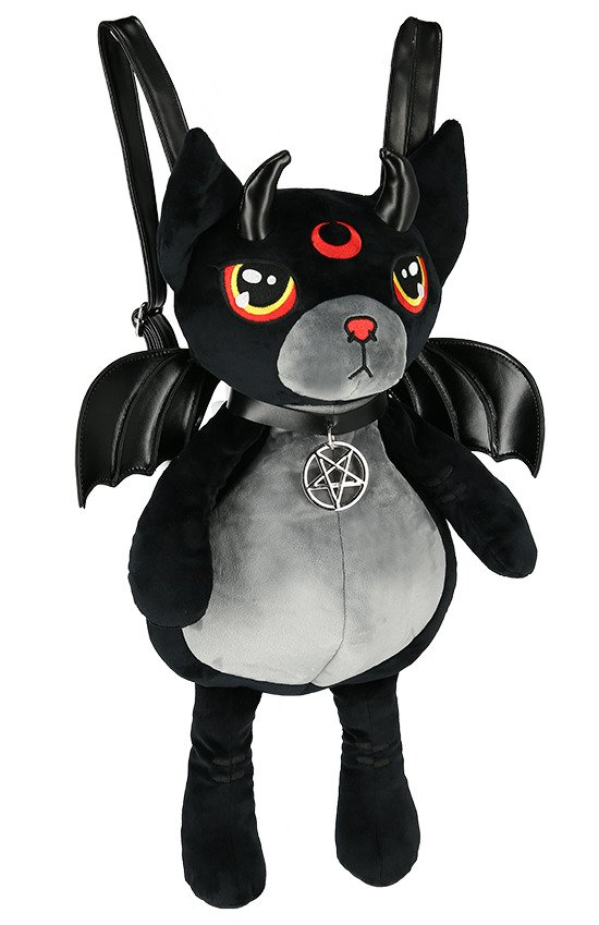 Red Cat Mascot Gothic Backpack with bat wings