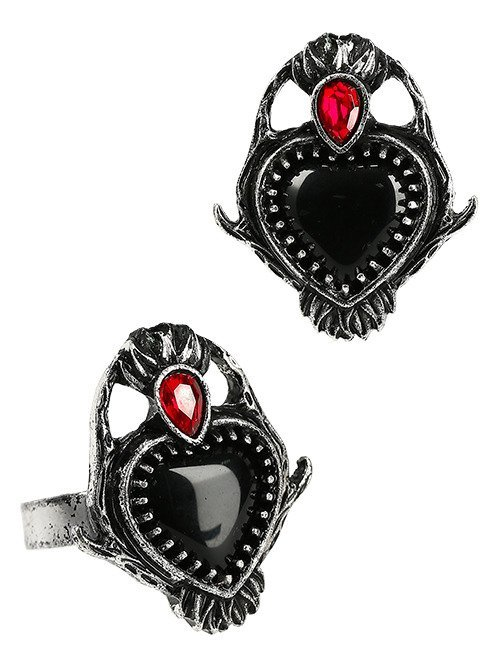 SACRED HEART RING with antler and polished stones
