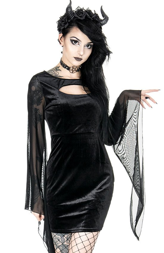 SALEM DRESS Black gothic velvet dress with wide sleeves