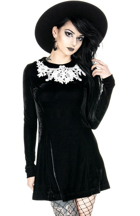 Dolly Dress Black Gothic Velvet Dress With White Lace Collar