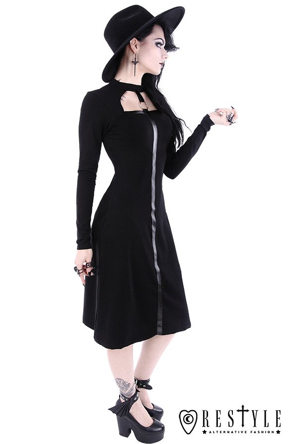 """SCARLETT DRESS"" Black gothic dress, leather strap with o-ring"