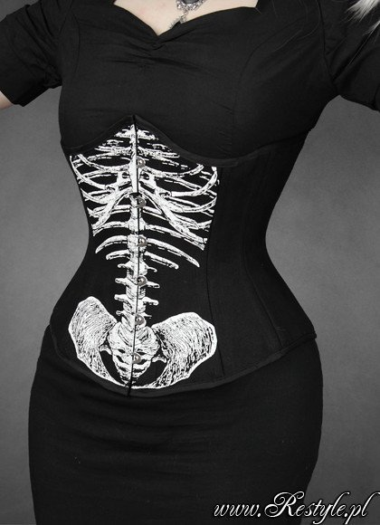 """SKELETON UNDERBUST"" anatomical, Black cotton corset, horror"