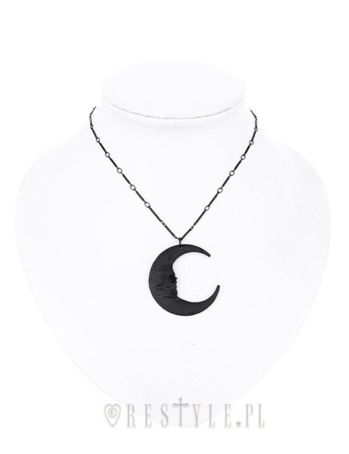 """SKULL MOON BLACK PENDANT"" Crescent, occult jewellery, luna"
