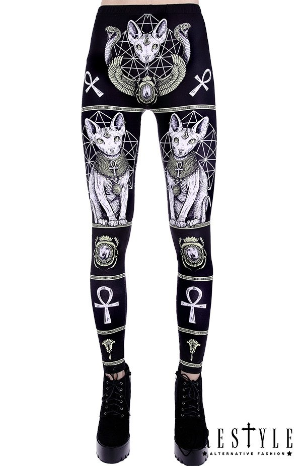"""SPHYNX LEGGINGS"" Black gothic leggings with sphynx cat, Bastet,  occult trousers"