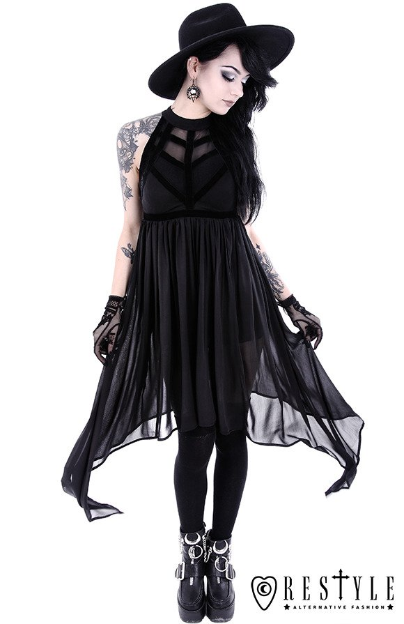 "Black long gothic tunic with long sides ""SPIDERWEB DRESS"""