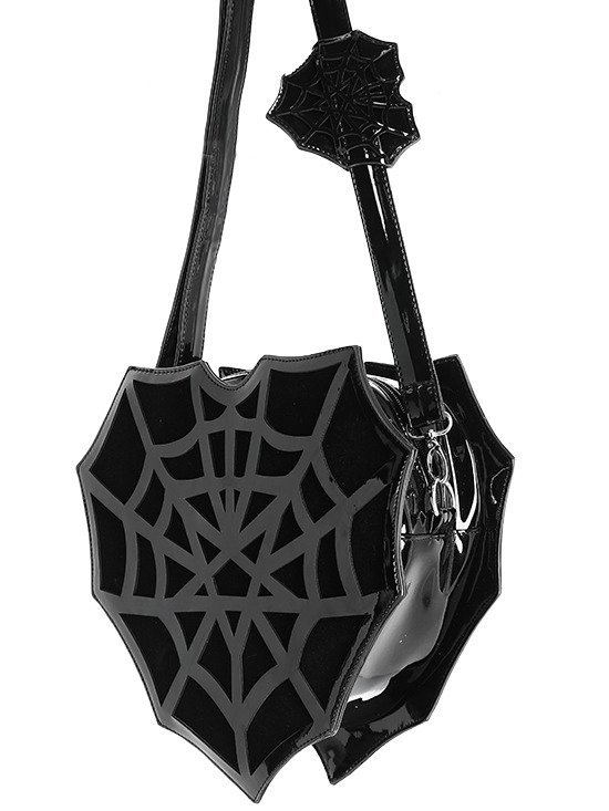 SPIDERWEB HEART BAG Vinyl gothic purse