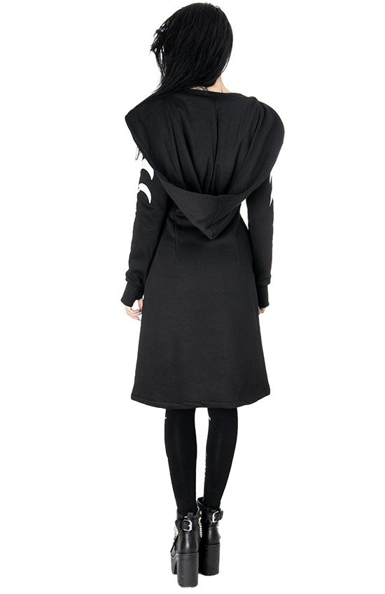 SPLIT HOODIE Long, Gothic coat with oversized hood and moon phases