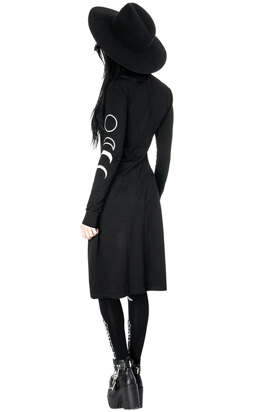 SPLIT TUNIC Black gothic turtle neck dress with moon phases print