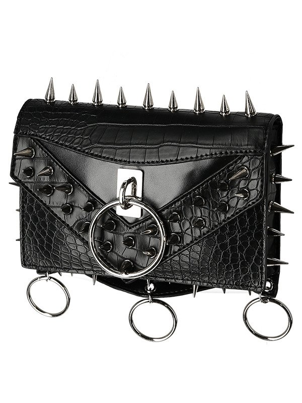 STUDDED CROCODILE BELT Black hip bag, pocket belt